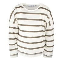 Basic T LS-stripes White/khaki