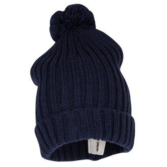 Knitted Hat With Ball Dark Blu, Mini Rodini