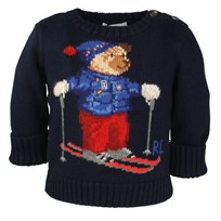 Boys Skiing Bear Sweater Navy