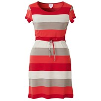 Nursing Dress Wide Stripe Red
