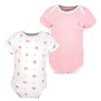 Bear Bodysuit 2PK White Pink