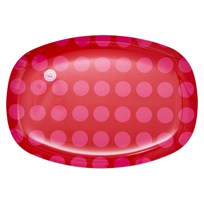 Rectang. Plate Red/Pink Dot