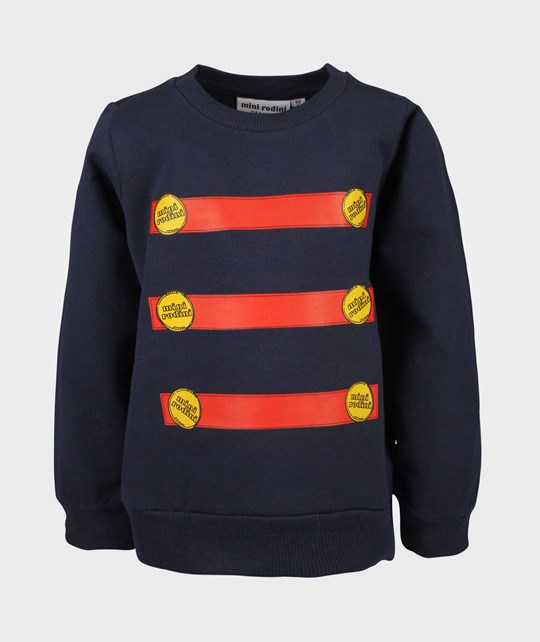 Mini Rodini Button Sweatshirt Dk Blue Blue