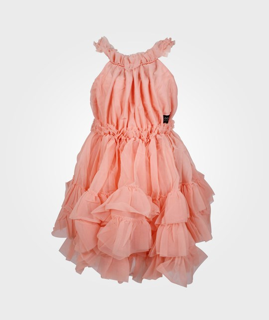 DOLLY by Le Petit Tom Ruffled Chiffon Dance Dress Coral Orange