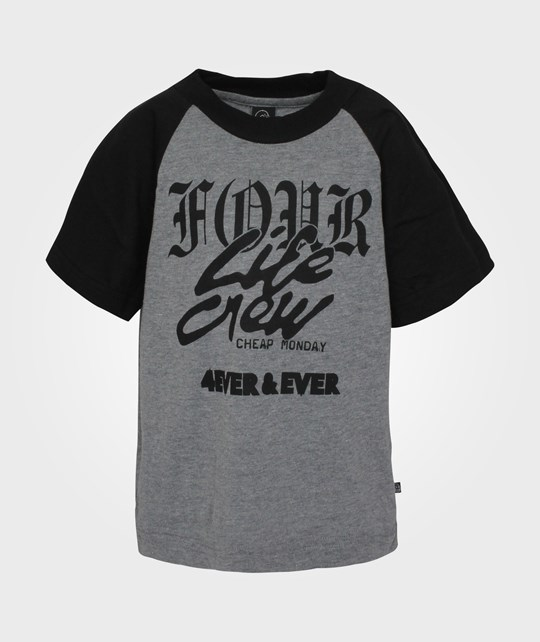 Cheap Monday Baby Big Tee Grey Melange 4ever Black