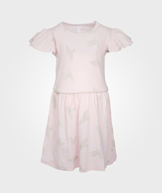 Livly Luna Dress Angel Sleeves Baby Pink/Beige Birds Pink