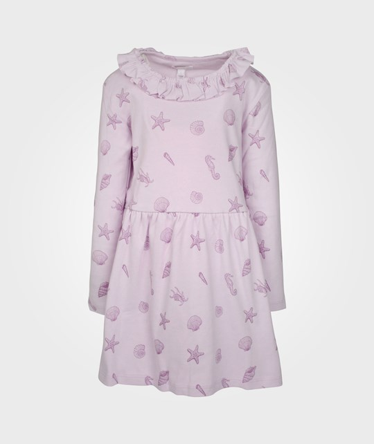 Livly Luna Dress Ruffled LS Purple Shell Print Purple