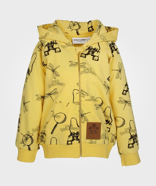 Mini Rodini Zoologist Zip Hood Yellow  Yellow