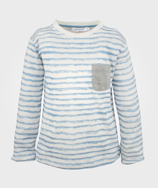 One We Like One Tee L/S White/Blue Stripe Blue