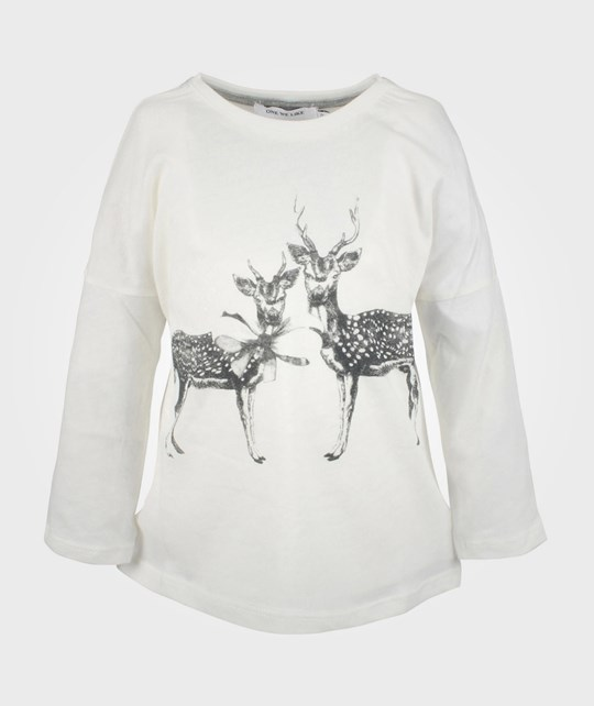 One We Like Pop Tee L/S White Deer White