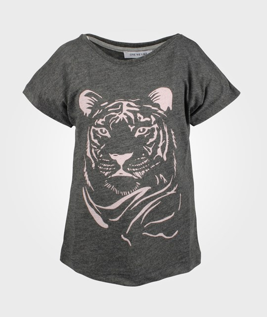 One We Like Pop Tee S/S Antracite Pink Tiger Black