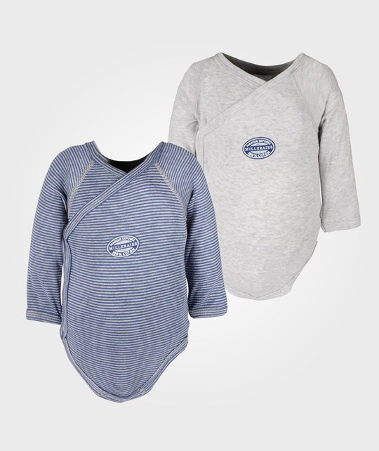 Petit Bateau Lot 2 Bodies Grey+Blue Multi