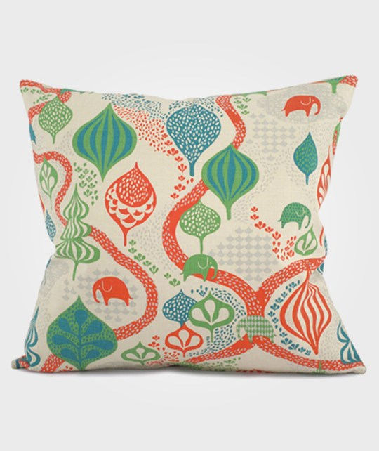 Littlephant Pillow Saga Forest Red/White Multi