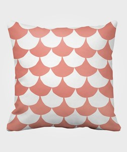 Image of Littlephant Pillow Big Waves White/Coral (2987146177)