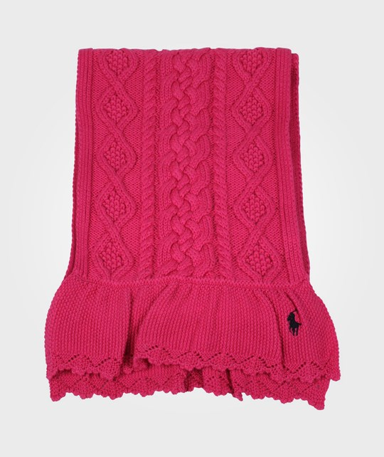 Ralph Lauren Aran Cable Scarf Ruffle Bright Pink