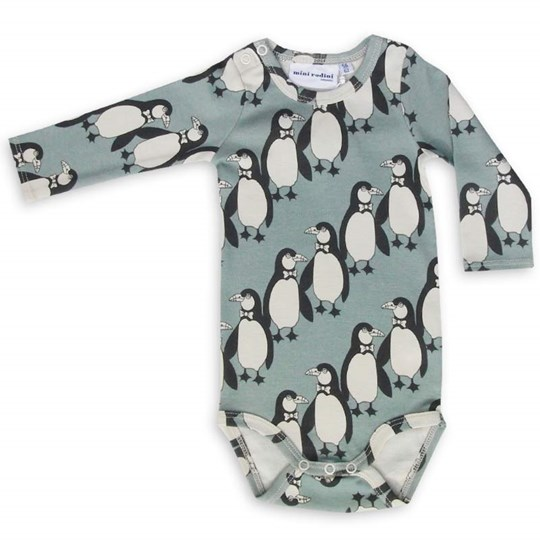 Mini Rodini Penguin L/S Body Green Green