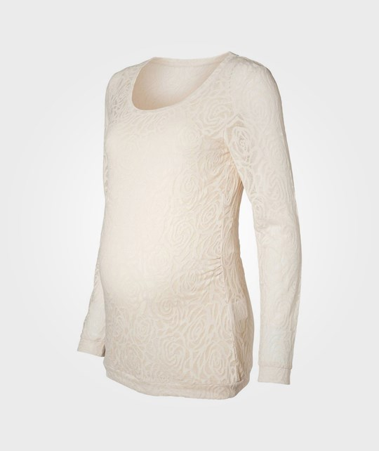 Mamalicious Holly Lace LS Top Whitecap White