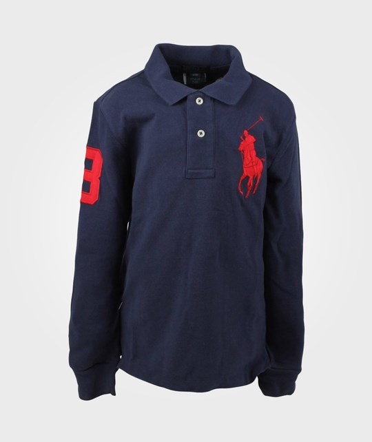 Ralph Lauren LS Custom Fit Polo Big Navy Blue