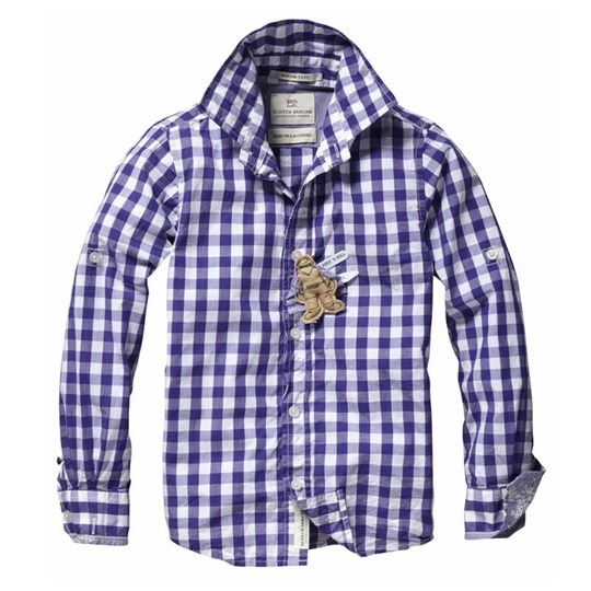 Scotch & Soda Shirt Big Check Purple Purple
