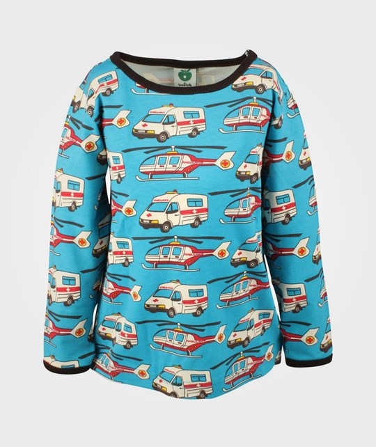 Småfolk T-shirt L/S Rescue Vehicles  Blue