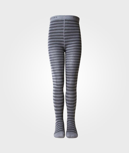 Melton Tights Wool/Cotton Stripe Grey Black