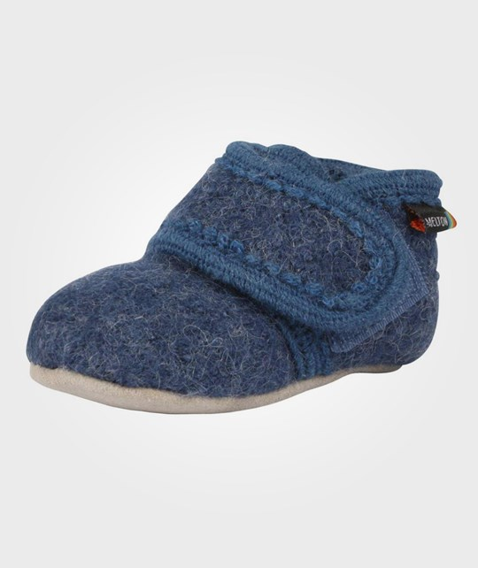 Melton Wool Soft Shoe Velcro Blue Blue