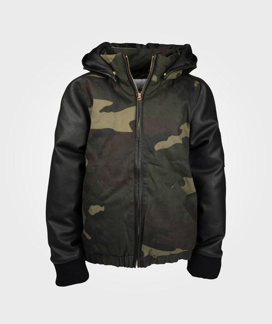 The BRAND Leather Sleeve Jacket Bl/Camo Green