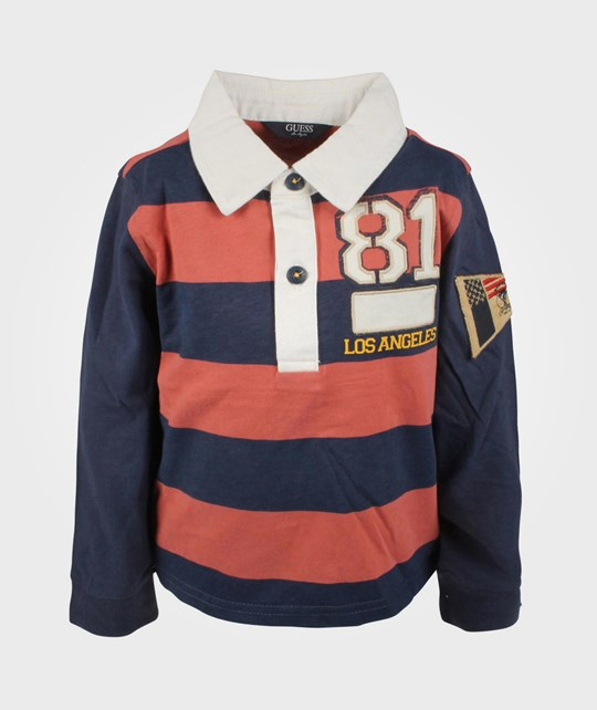 Guess LS Polo Shirt Stripe Blue/Red Multi