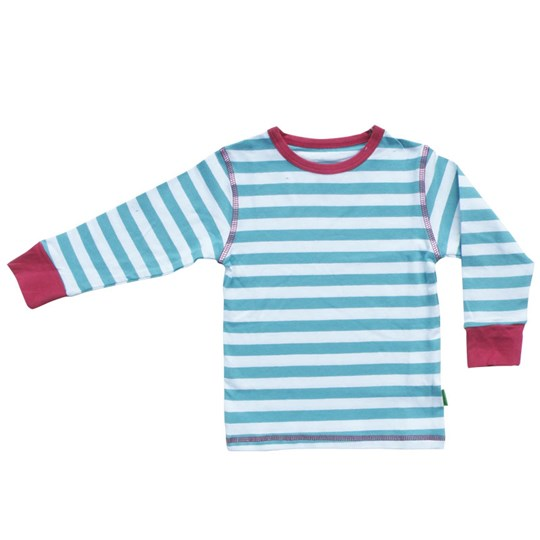 Plastisock T-shirt LS Striped Dusty Turqu Turquoise