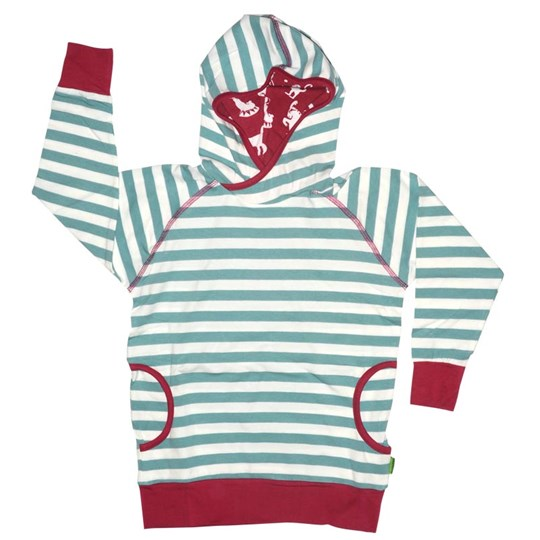Plastisock Kids Hooded Shirt Striped Turq Turquoise