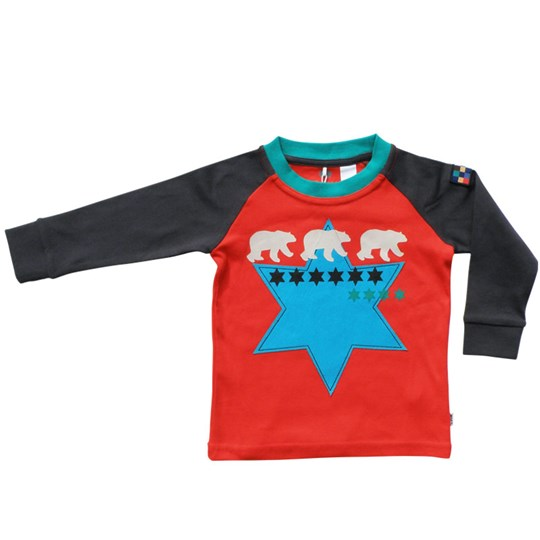 Green Cotton T-shirt L/S Christer Blue Star Red