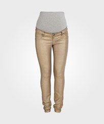 Mamalicious Golden Coated Slim Jeans Beige
