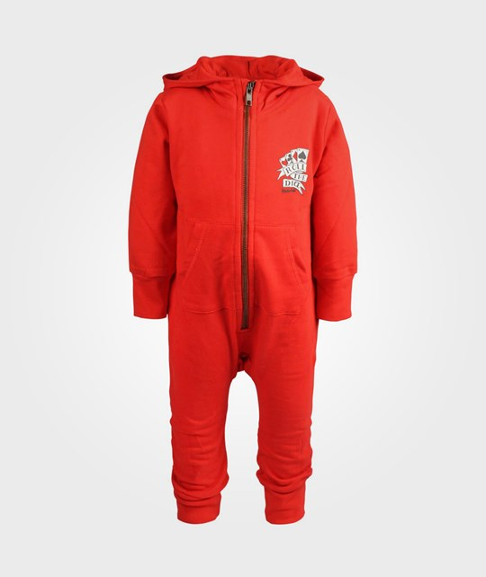Rockefella Bengt Hooded Jumpsuit Red Rød