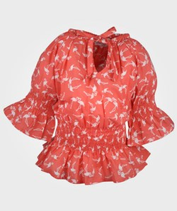 How To Kiss A Frog Lilian Blouse Coral Flamingo