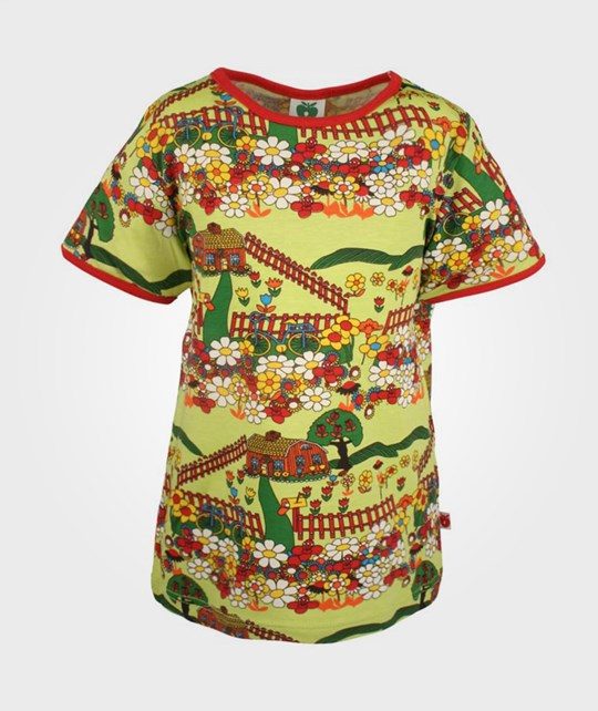 Småfolk T-Shirt House and Flowers Green