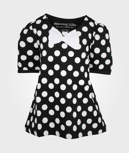 Rockefella Penny Top Black W White Dots Black