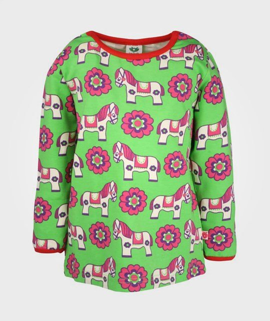Småfolk T-shirt LS Horses and Flowers Green