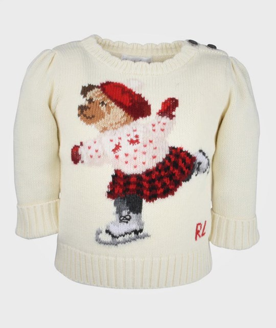 Ralph Lauren Skating Bear Sweater Cream White