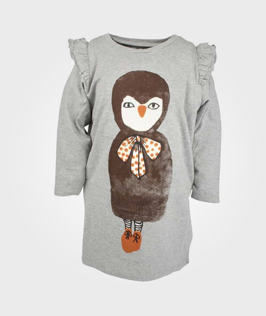 Soft Gallery Lila Owl Girl Dress Frill Grey Grey