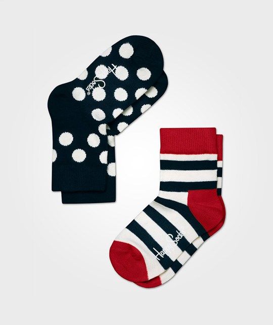 Happy Socks Stripes Dots Blå Vit 2-PACK Black