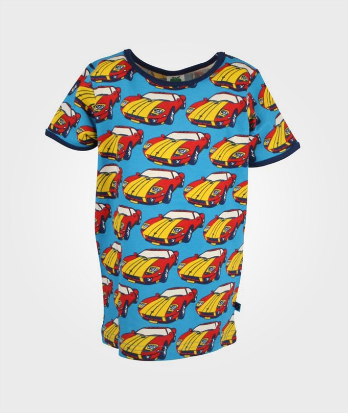 Småfolk T-Shirt Rally Cars Turquoise Multi