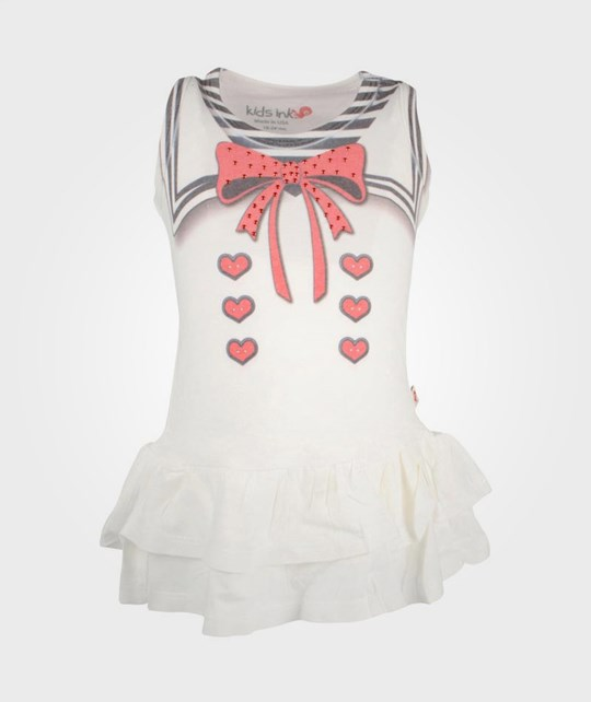 Kids Ink Ruffle Dress Red Bow White