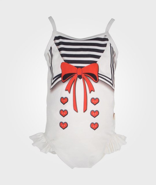 Kids Ink Swimsuit Red Bow White