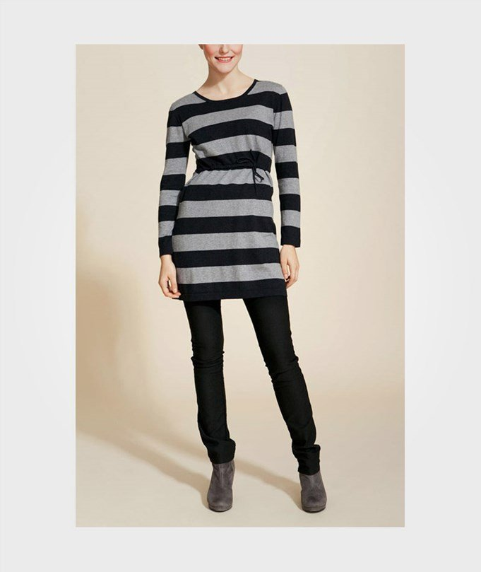 Knitted Dress Stripe Grey/Blac