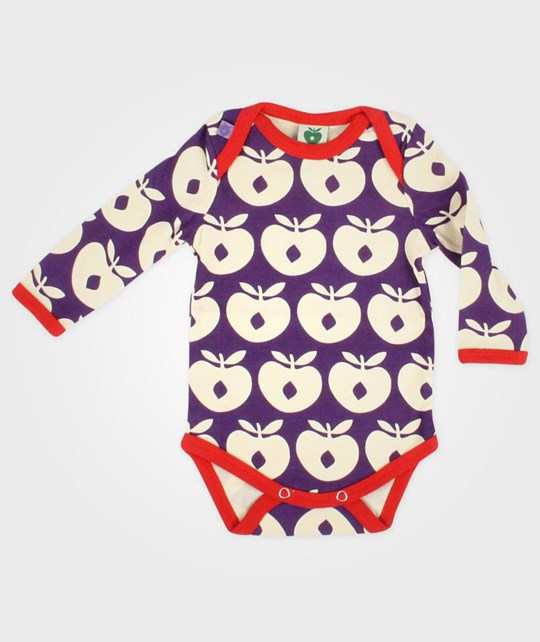 Småfolk Onesie Apples Purple Purple