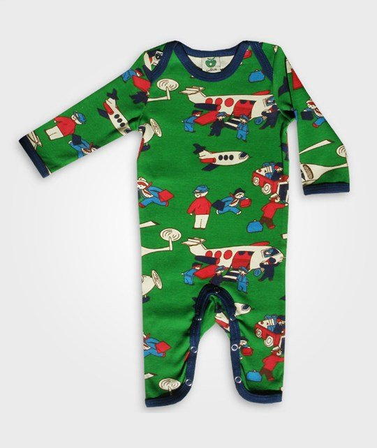 Småfolk Body Suit Airplanes Green