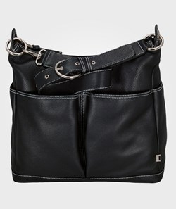 OiOi Leather Pocketed Hobo Black