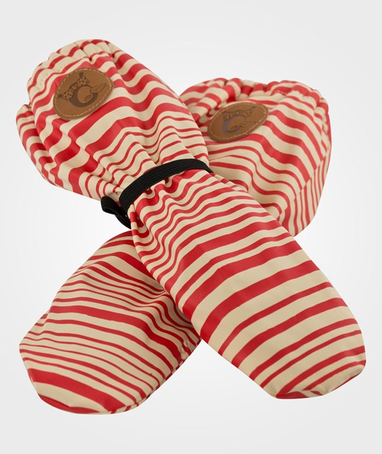 Mini Rodini Stripe Aop Rain Glove, Red Rød