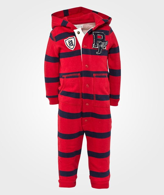 Ralph Lauren LS Hooded Coverall Ralph Red Multi Red