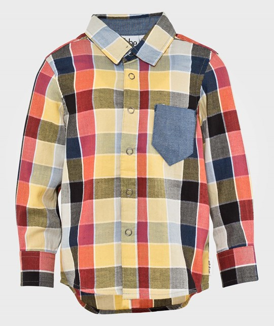 ebbe Kids Keanu Shirt L/S Worker Check Beige/Tomato Multi